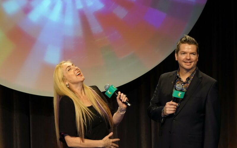 Troy and Zara Swindells-Grose at Telstra Event